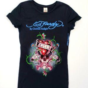 Ed Hardy Christian Audigier Graphic Bling Tshirt